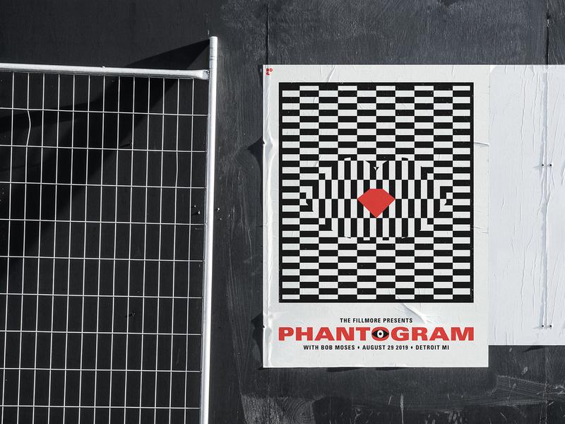 Phantogram Poster offwhite black gig poster detroit optical illusion