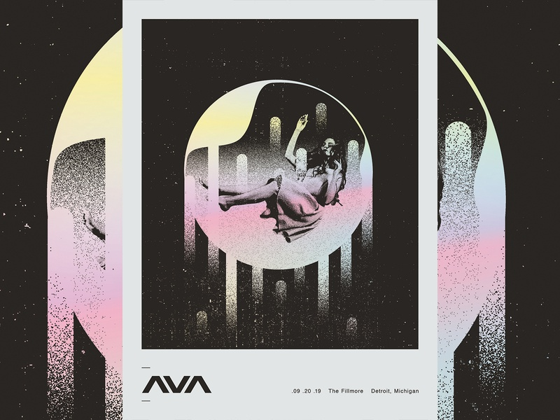 Angels & Airwaves space floating orb woman gray grey black holographic gig poster