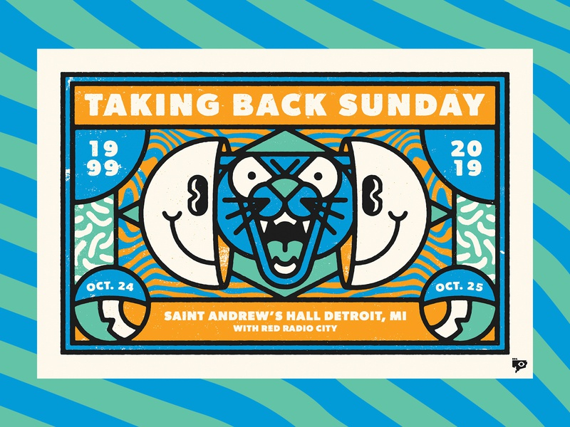 Taking Back Sunday happy face gig poster panther