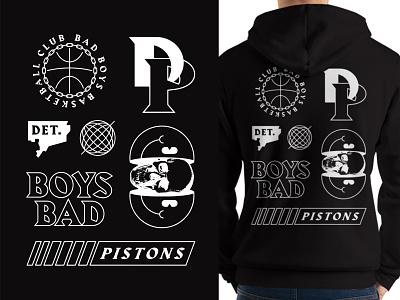 Pistons Hoodie basketball logo bad boys skull smiley sports white black detroit basketball