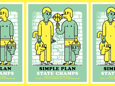 Simple Plan / State Champs Gig Poster poster design costume mascot basketball graffiti sports yellow green poster gig poster dawg