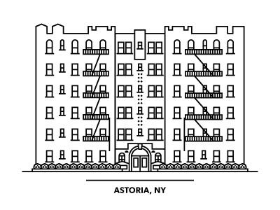 Astoria NY apartment building astoria ny black white shrubs