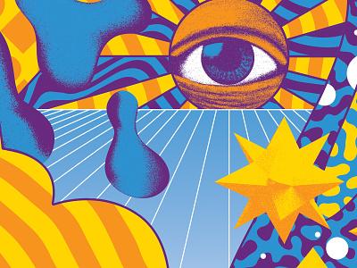 Trippin' pattern texture sun eye vector color surreal art 3d