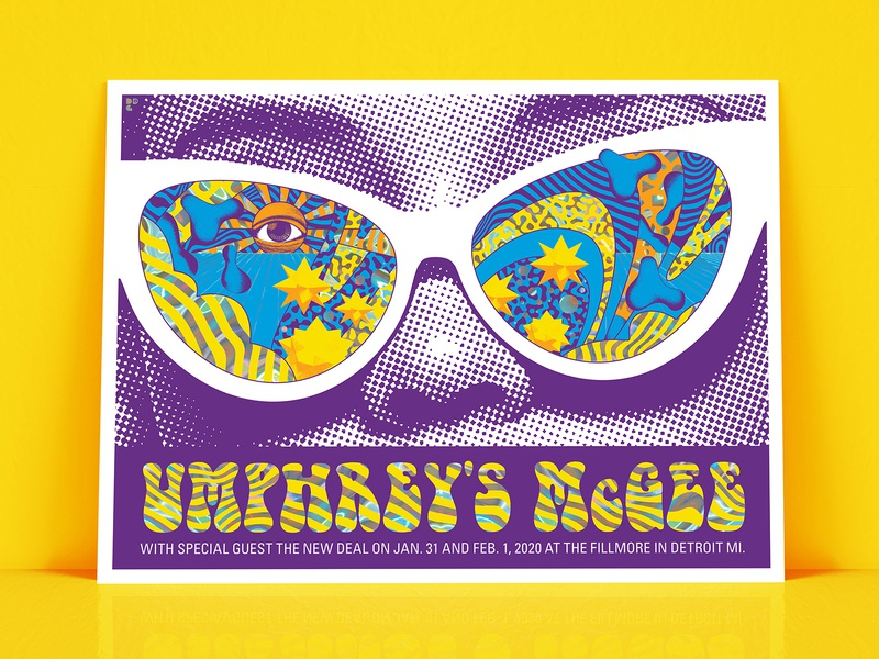 Umprey's McGee Gig Poster trippy glasses eye orange cyan yellow blue holographic foil foil screenprint psychedelic