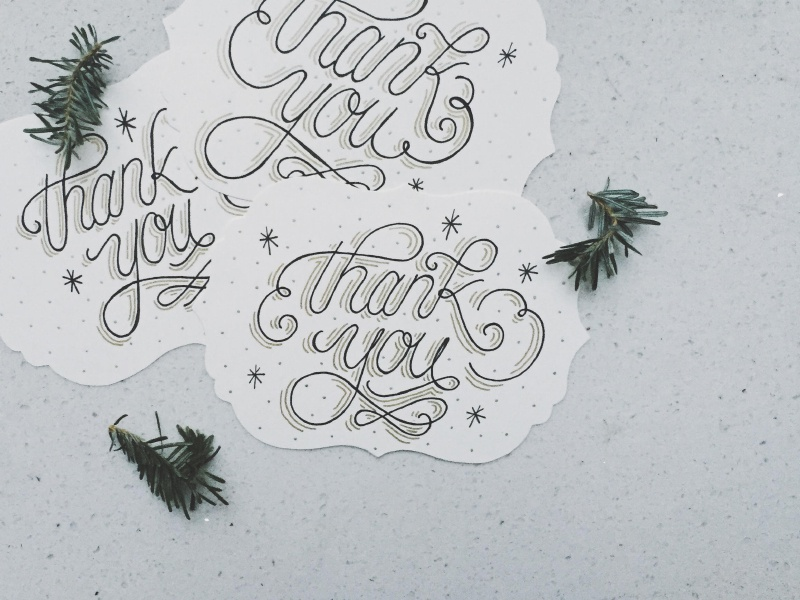 """Holiday """"Thank You"""" Cards holidays cards handlettering type script typography lettering thankyou"""