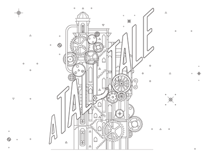 """""""A Tall Tale"""" illustration steampunk tower event poster theatre line work vector illustration"""