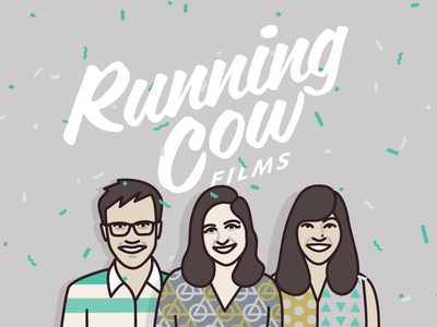 Running Cow Films website mugshot team portraits illustration vector
