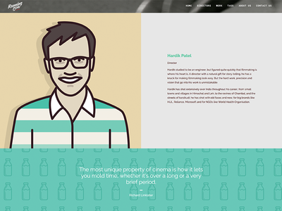 Director page - Running Cow Films website bio team profile layout illustration