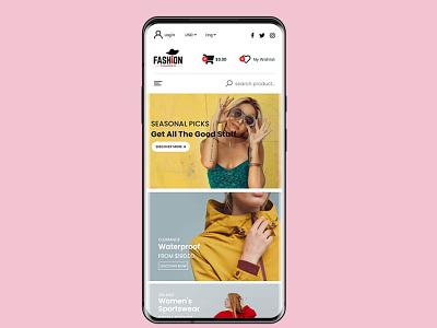 Fashion site (online shop) mobile view fashion site website ui ux design