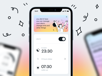 Smart alarm clock app checklist application alarm clock smarthome wake up card clock alarm mobile ux ui