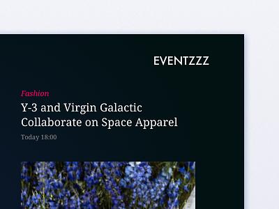EVENTZZZ schedule events simple layout dark ux minimal ui
