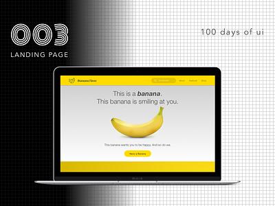100 Days of UI - #003 Landing Page dailyui responsive web fun banana design landing page landing website iphone ux ui