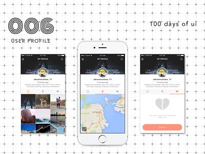 100 Days of UI - #006 User Profile app mobile profile interface flat dailyui ios fun design iphone ux ui