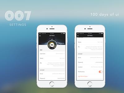 100 Days of UI - #007 Settings account flat 100daysofui dailyui mobile profile settings ios iphone design ux ui