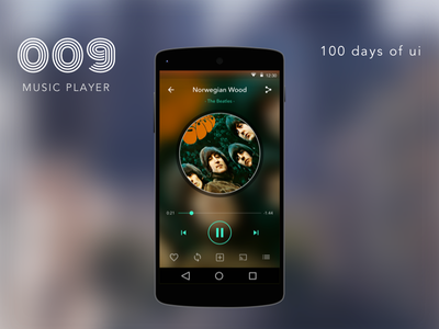 100 Days of UI - #009 Music Player flat 100daysofui dailyui mobile music android material phone design ux ui