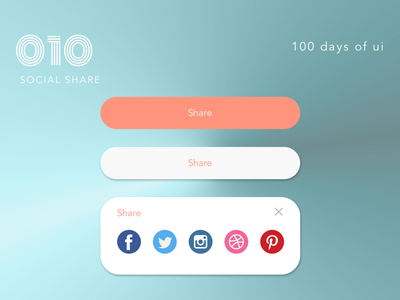 100 Days of UI - #010 Social Share design social social share expanded button ui ux uiux