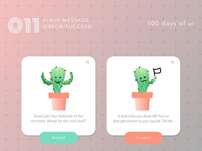 100 Days of UI - #011 Flash Message (Error/Success) design notification flash message ux ui