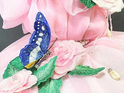Morpho Rhetenor Helena accessories brooch butterfly embroidery