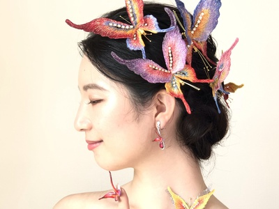 Red Butterflies accessories sayoko brooch butterfly embroidery