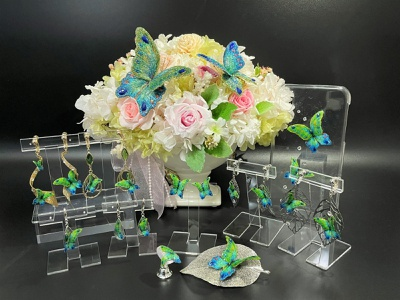 Midori-Ruri (Green Lapis Lazuli) Butterfly  accessories brooch butterfly embroidery