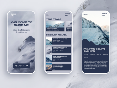 Mobile application design for a skitouring app iphone application design blue and white grey blue design uidesign mobile design modern interfacedesign mobile ui snow mountain ski app design application app mobile