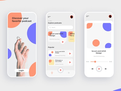 Screen Design Podcast App hearing orange music podcast branding blue big grey dual color modern uidesign ui application design app design app design