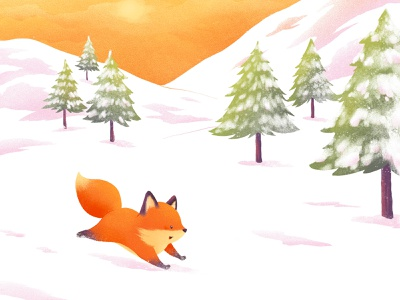 Oscar - Birth card illustration birth announcement card cub fox illustration birth baby newborn procreate affinity publisher snow winter son oscar