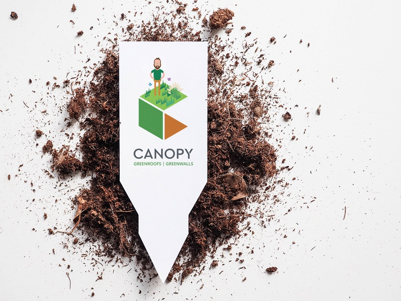 Canopy business cards garden urban soil green wall green roof canopy plant marker plant label business card branding illustration