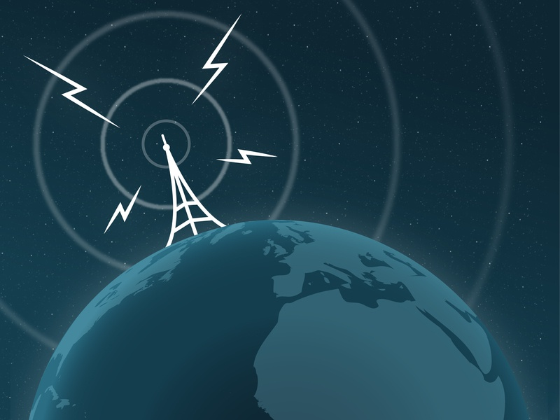 YASCAST Cover Art mast antenna yaska transmission radio illustration branding globe broadcast
