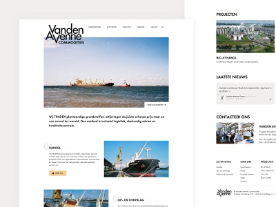 Vanden Avenne - Homepage ui commodities desktop branding transshipment storage transport distribution trade homepage webdesign website vanden avenne