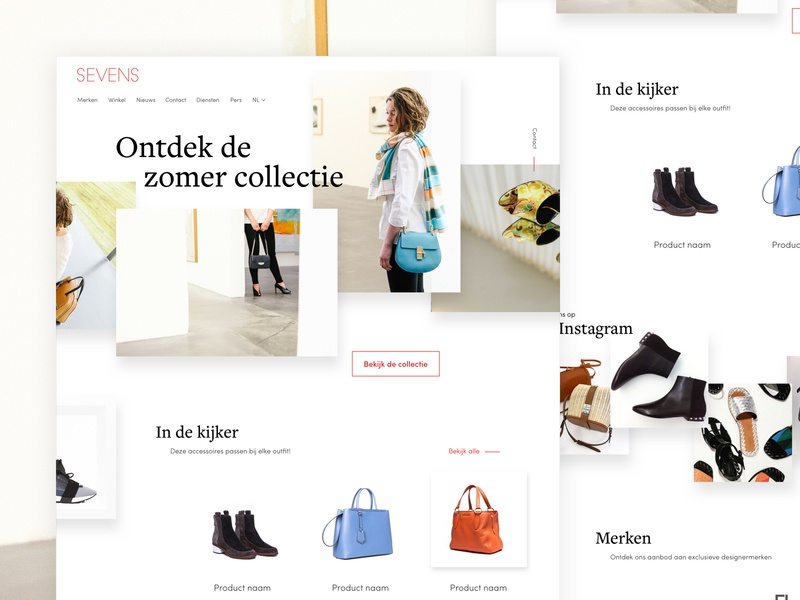 Sevens - Homepage fashion website webdesign ui balenciaga chloe prada gucci fendi store homepage accessories shoes bags sevens branding