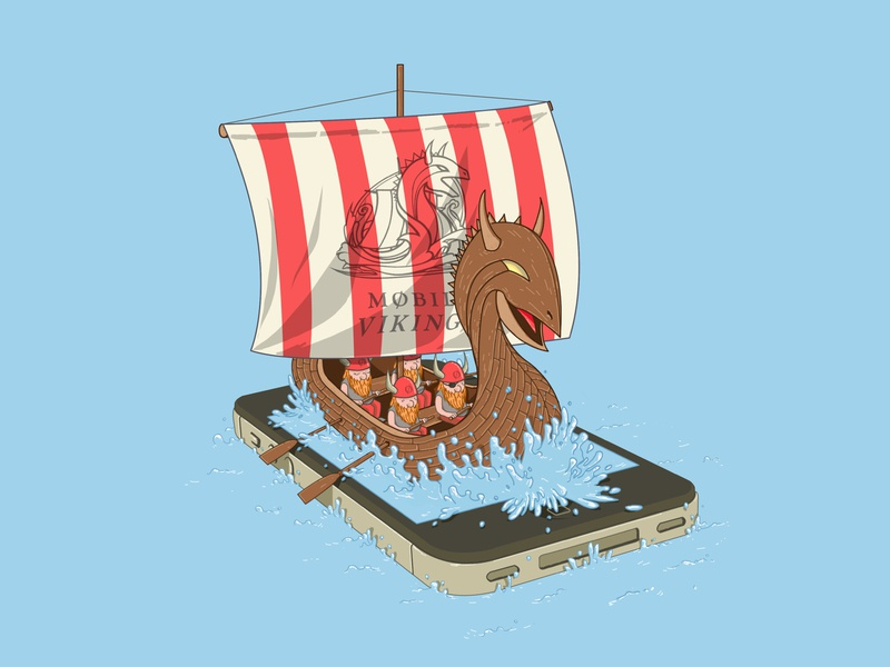 Mobile Vikings T-Shirt Design Contest Submission mobile data tees tee carrier vikings photoshop illustration contest apparel sea sailing iphone drakkar t-shirt teeville mobile vikings