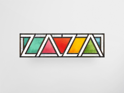 ZAZA Logo panel window mockup glass art photoshop glass lead frosted glass stained glass brand identity illustrator vector branding logo