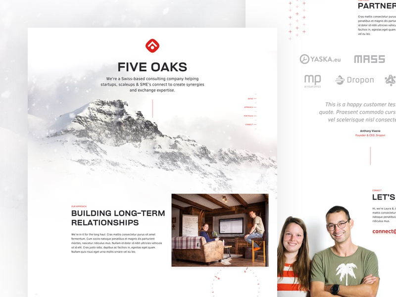 Five Oaks Landing Page unsplash management consulting winter snow pattern compass swiss mountain partnership consulting five oaks landing page desktop webdesign website