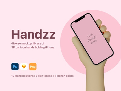 Handzz | 3D hands Mockup photoshop mockup psd sketch freebie apple 3d illustration iphone x iphone mockup character hands