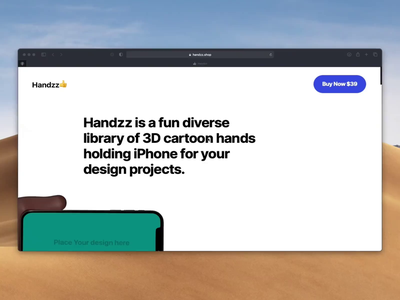 Handzz.shop uidesign web 3d animation iphonex character hands website ui freebie sketch iphone 3d