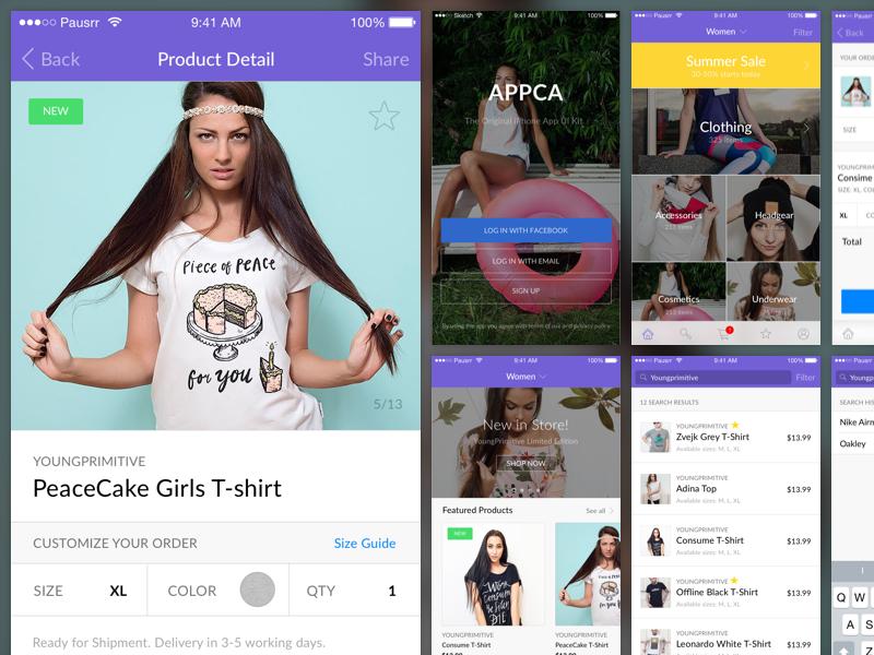 Appca - Ecommerce UI Kit skecthapp sign up login purchase shop e-commerce sketch ui uikit ui kit iphone app