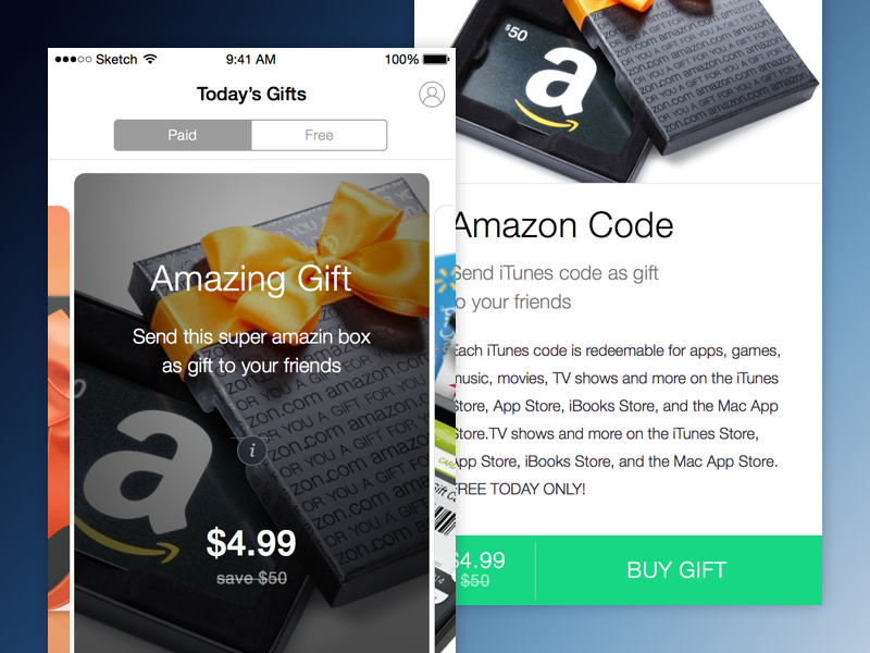 Gifter buy cards ux ui iphone app gift