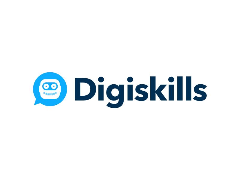 Digiskills Logo white blue logo digital skills bot chat app robot