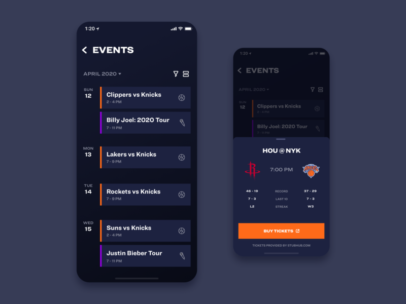Smart Stadium - Events game video typography sport nba icons camera ui ux app