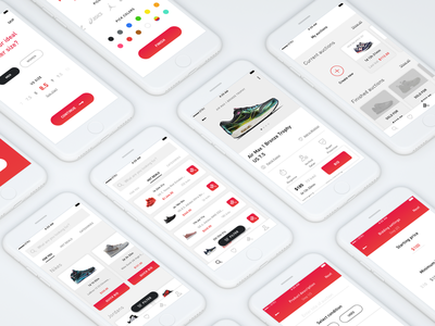 Sneakers bidding app bid auction app flow white minimalism clean ui ux