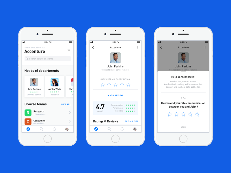 Employee Rating App rating app ios white ux ui minimal modal profile feed