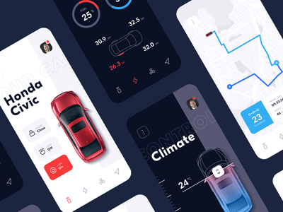 Vehicle Assistant App assistant driving dashboard controls vehicle car mobile ios design app interface ux ui