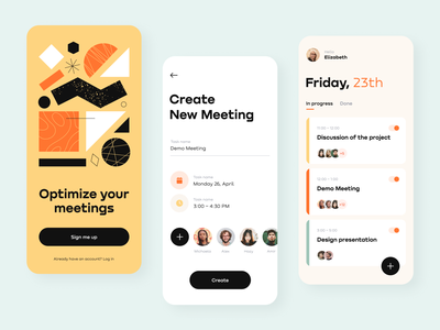 Daily Meeting Schedule App schedule service optimize meetings illustration mobile ios design app interface ux ui