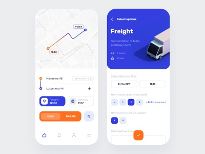 Cargo Transportation App Design freight cargo transportation ios mobile interface ux ui app