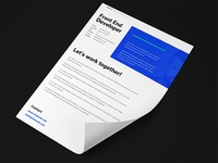 Letter of application / Offer design for personal branding