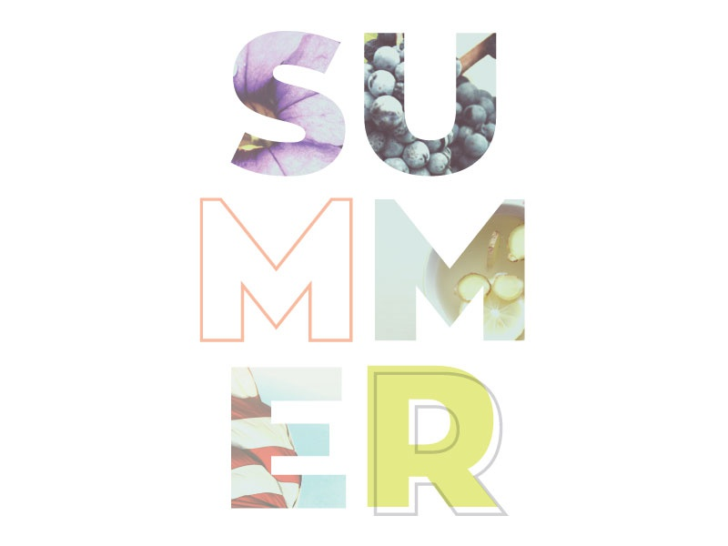 Summer holiday flowers color collage photography typography summer