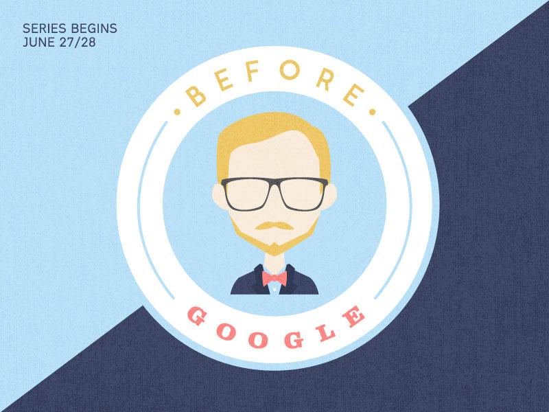 Before Google typography texture logo badge wisdom glasses illustration church sermon series google blue