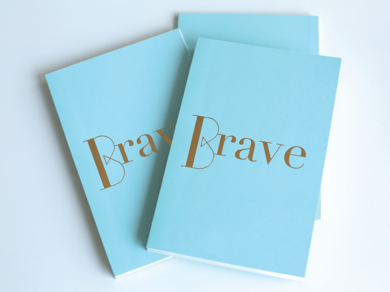 Brave pattern arrows brave booklet editorial typography layout graphic design invitation gold foil tiffany blue