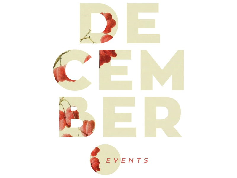 December berries month layout design christmas typography red december